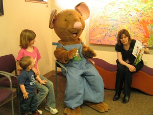 Mouse reading during Pediatrics, Reach Out and Read Program